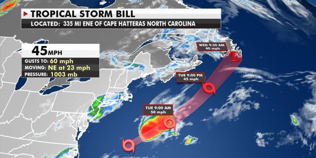 Tropical Storm Bill's forecast route. (Fox News)