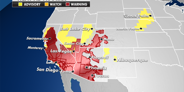 Heat advisories currently in effect. (Fox News)