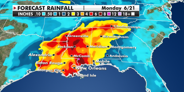 Expected rainfall totals through Monday. (Fox News)
