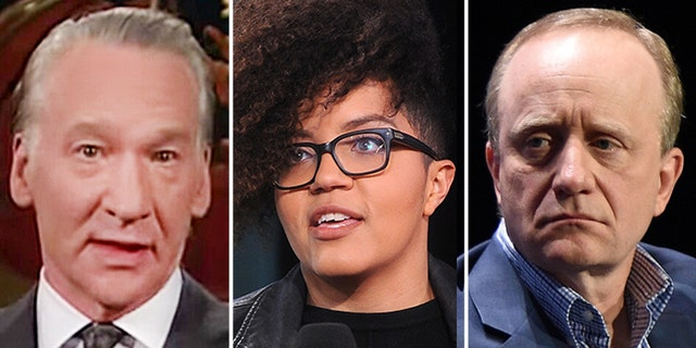 Bill Maher, left, and guests Jane Coaston and Paul Begala (HBO/Getty Images)