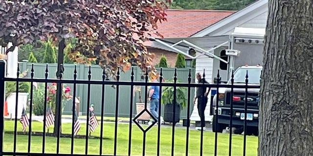 Crime-scene work gets underway at a Westport, Connecticut, home where two bodies were found Thursday. (Connor Ryan/Fox News)