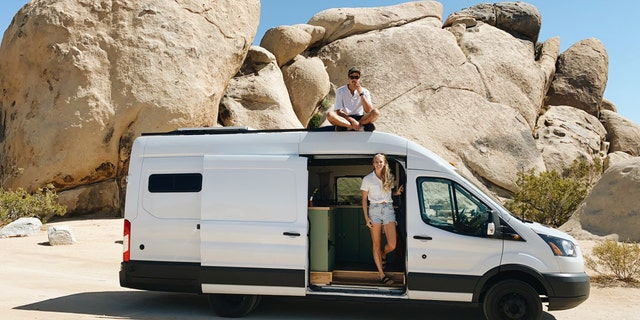 The Landheers bought a $25,500 Ford Transit T-350 van and spent five months and $13,000 renovating it, before they started their journey in March of this year. (SWNS)