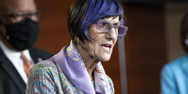 Representative Rosa DeLauro, a Democrat from Connecticut and chairwoman of the House Appropriations Committee, speaks during a news conference at the U.S. Capitol in Washington, D.C., U.S., on Wednesday, May 19, 2021. DeLauro is calling on Catholic bishops to not deny Communion to pro-choice Democrats. Photographer: Al Drago/Bloomberg via Getty Images