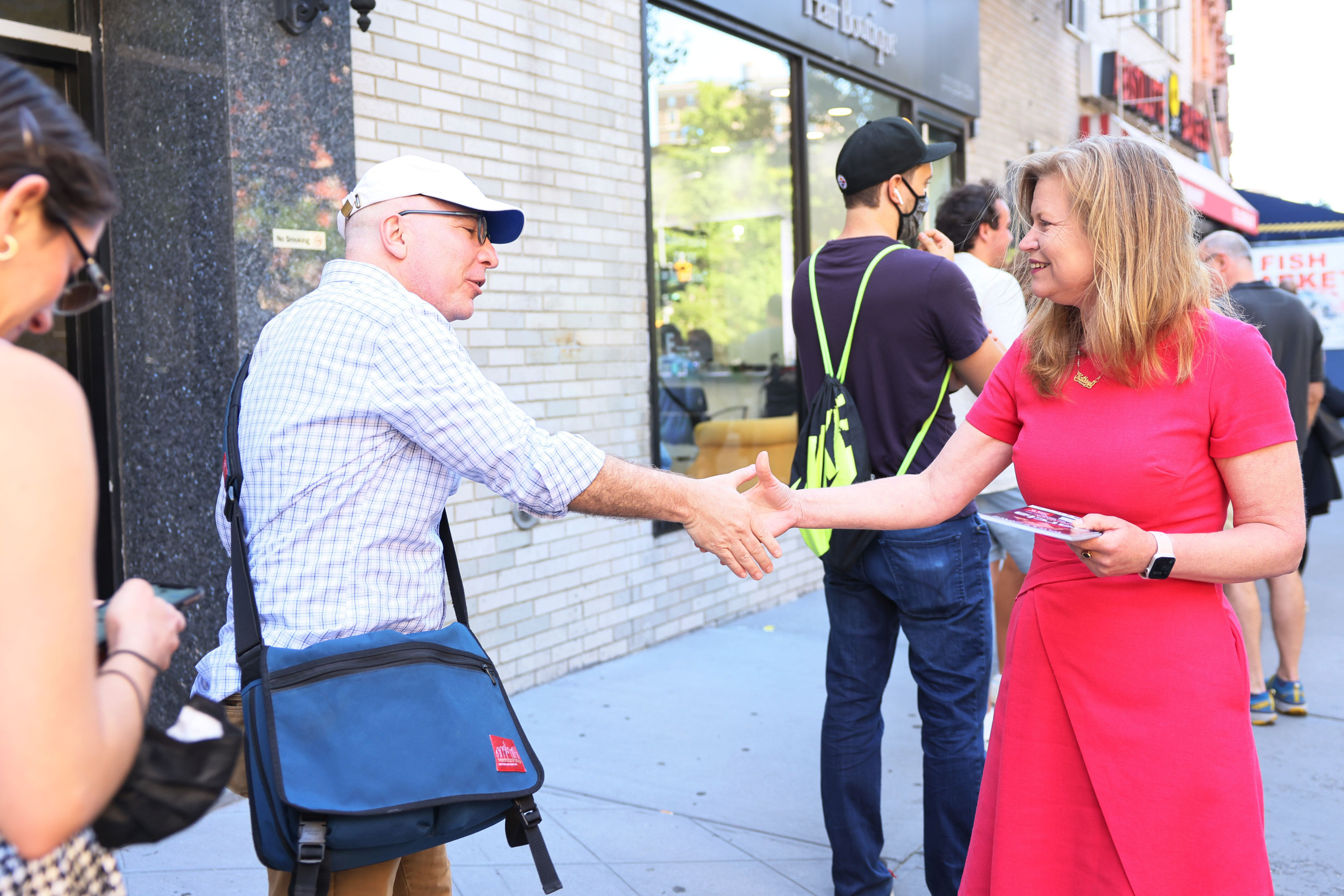 Kathryn Garcia campaigns on Manhattan's Upper West Side on Wednesday. It is unclear whether Garcia has enough support in work