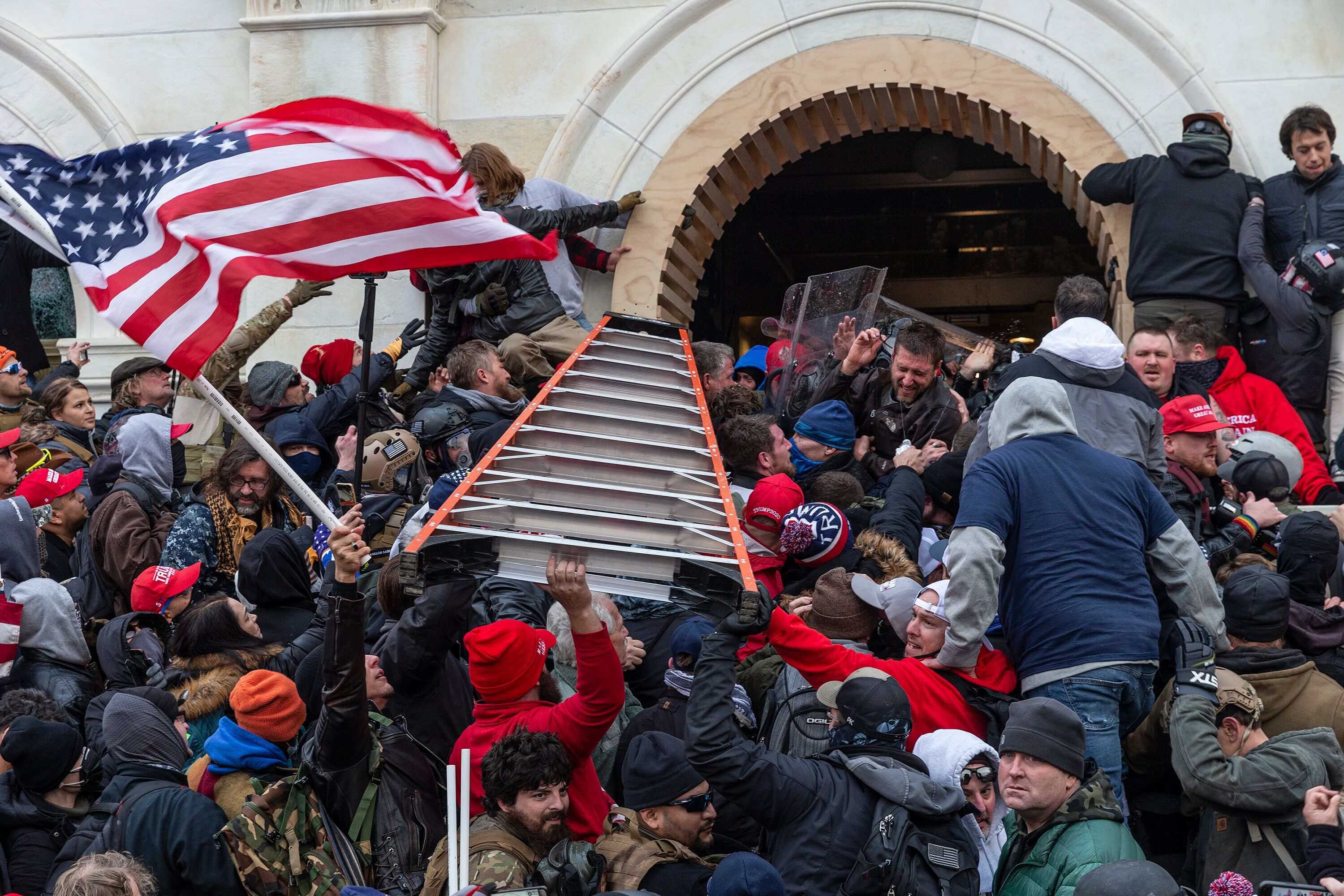 Rioters on clash with police while trying to enter the Capitol building on Jan. 6.
