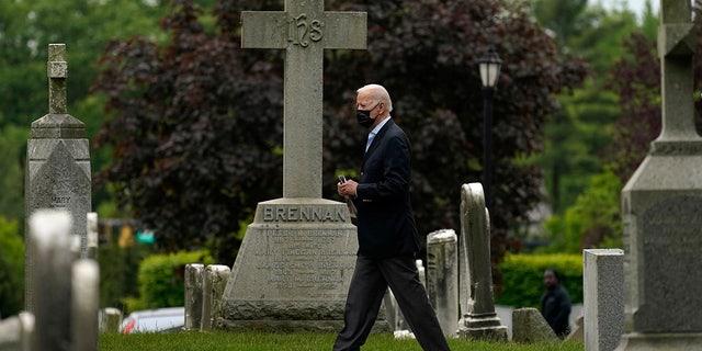 President Joe Biden walks from St. Joseph on the Brandywine Catholic Church after attending mass, Sunday, May 16, 2021, in Wilmington, Delaware. (AP Photo/Carolyn Kaster)