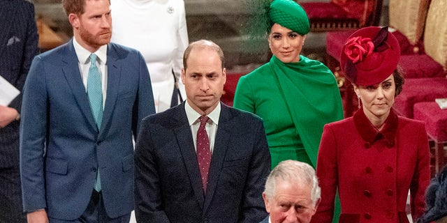 Prince Harry, Duke of Sussex, Meghan, Duchess of Sussex, Prince William, Duke of Cambridge, Catherine, Duchess of Cambridge and Prince Charles, Prince of Wales attend the Commonwealth Day Service 2020 on March 9, 2020, in London, England.