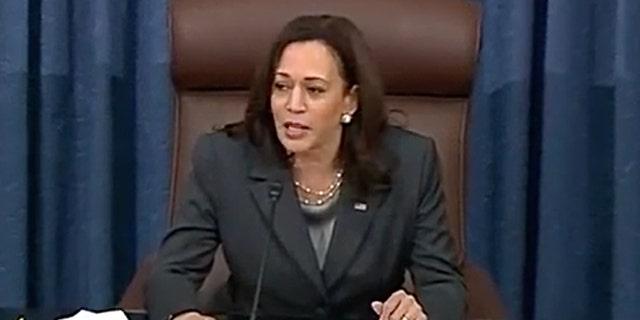 Vice President Kamala Harris presides over the Senate Tuesday June 22 as Republicans blocked Democrats' signature voting reform legislation.