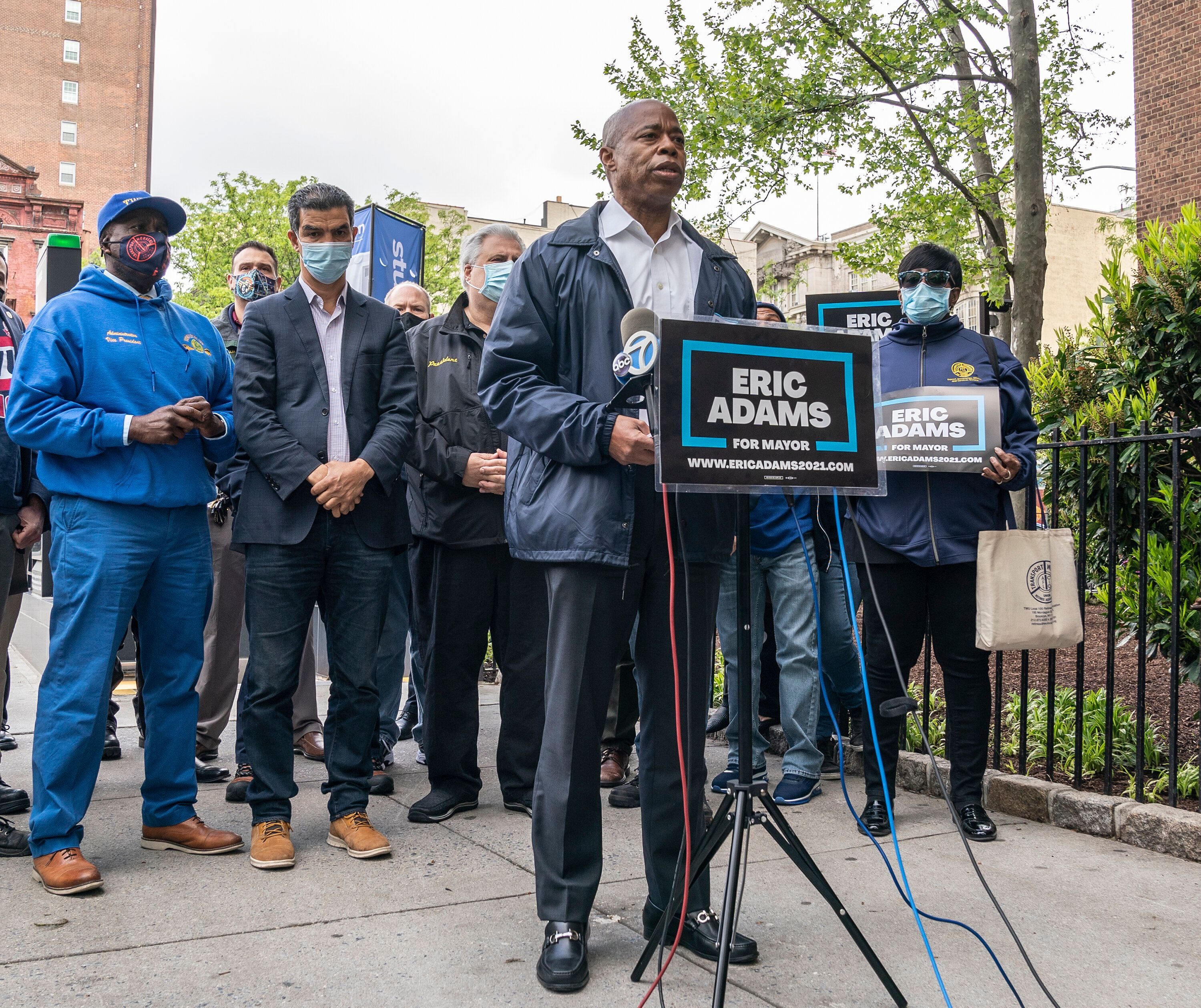 Eric Adams joins members of the Transport Workers Union to call for better policing on the subways. Adams's focus on crime an
