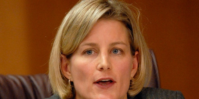 Commissioner Dabney Friedrich speaks during the U.S. Sentencing Commission meeting where commission members voted unanimously to allow some 19,500 federal prison inmates, most of them Black, to seek reductions in their crack cocaine sentences in Washington, Tuesday, Dec. 11, 2007. A decade later, Fredrich was appointed to be a judge on the D.C. District Court by former President Trump. (AP Photo/Stephen J. Boitano)