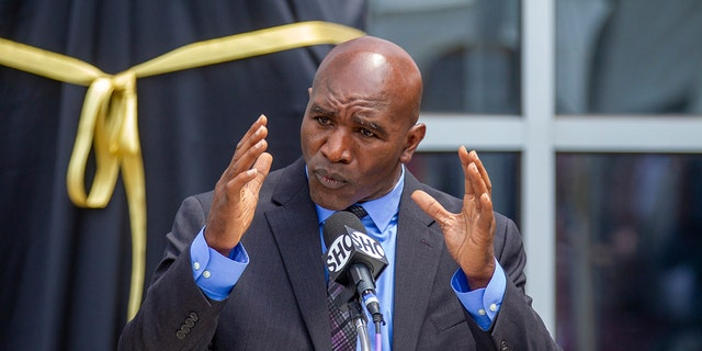 Legendary boxer Evander Holyfield before the unveiling of a bronze statue of him outside the State Farm Arena, Friday, June 25, 2021, in Atlanta. (Associated Press)