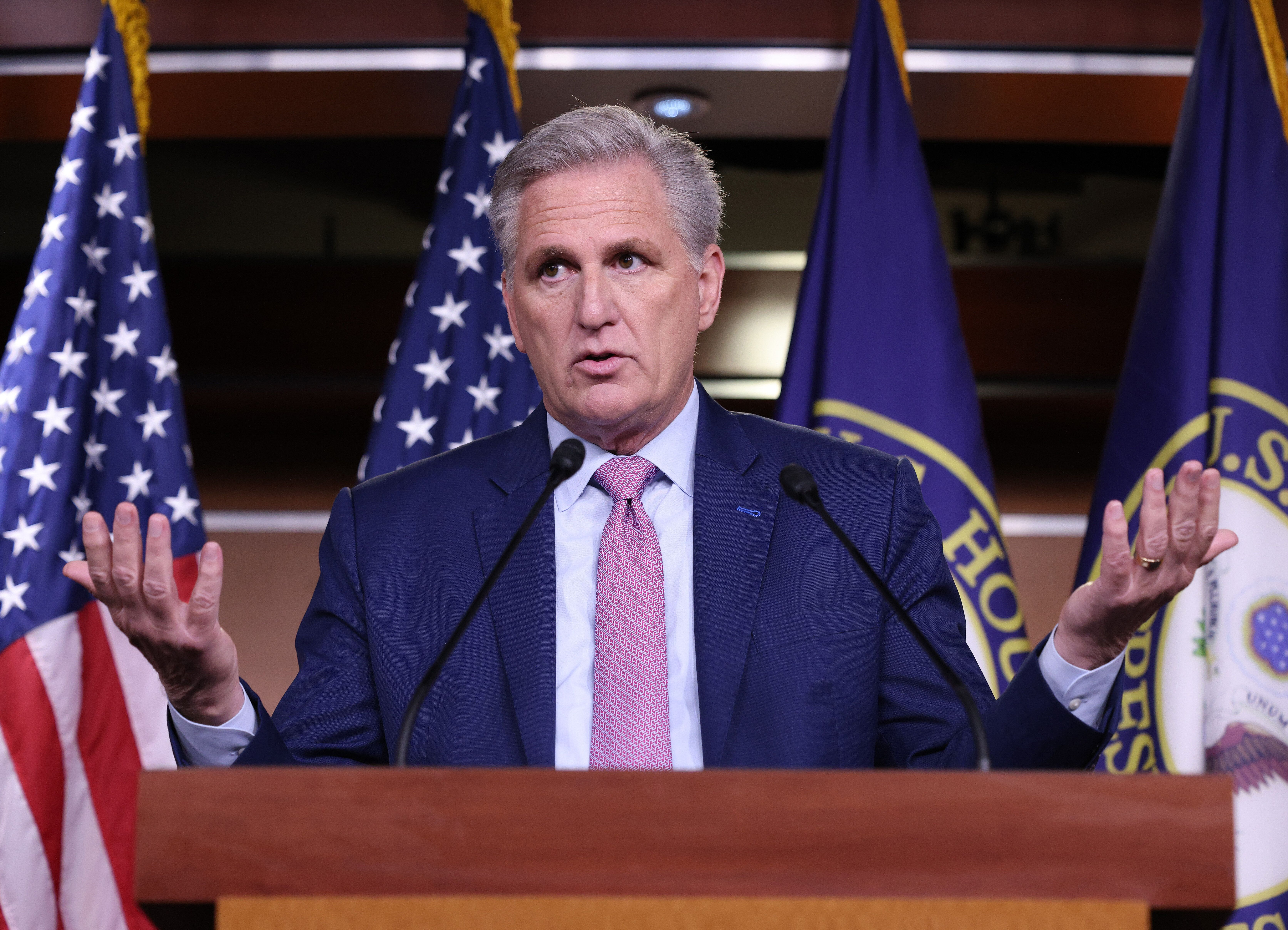 House Minority Leader Kevin McCarthy, pictured, was asked by Michael Fanone in Friday's meeting toasking him to publicl
