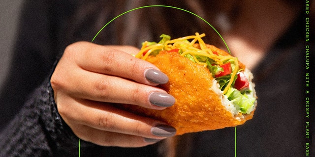 Taco Bell has launched a limited-time plant-based shell alternative for its Naked Chicken Chalupa at one location in Irvine, California. (Courtesy of Taco Bell)
