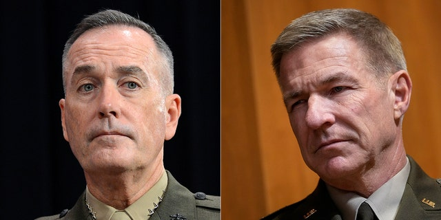 Joseph Francis Dunford Jr., left, is a retired Marine Corps four-star general; James Charles McConville is the 40th chief of staff of the Army.