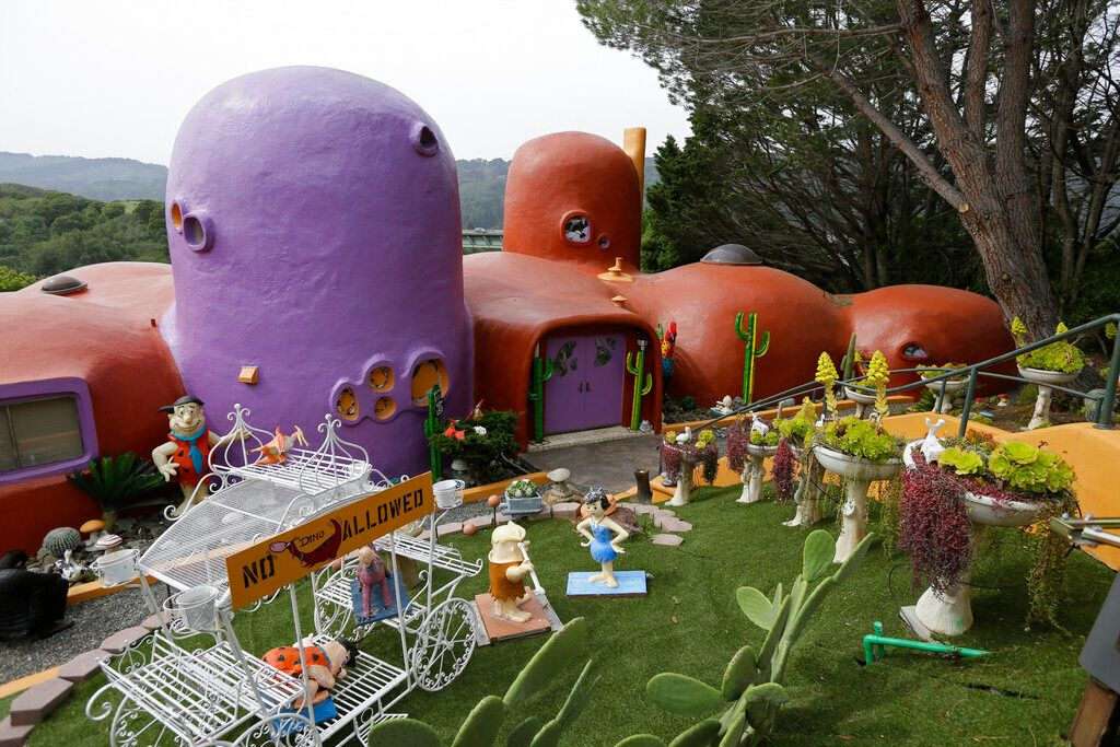 The Flintstone House is seen before a news conference with the owner and the home's original architect in Hillsborough, Calif
