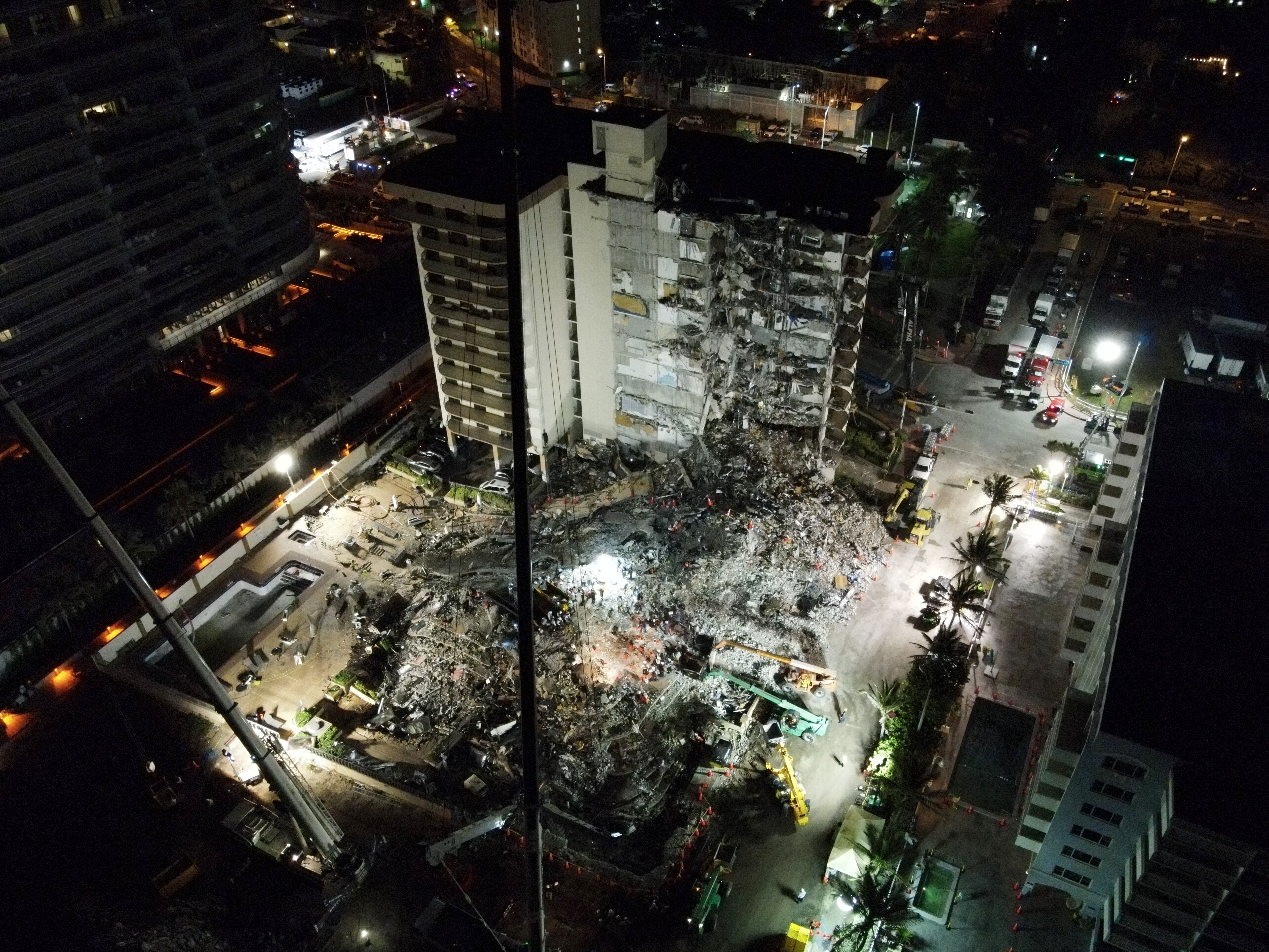 An aerial view of the site during ongoing rescue operations in Surfside.