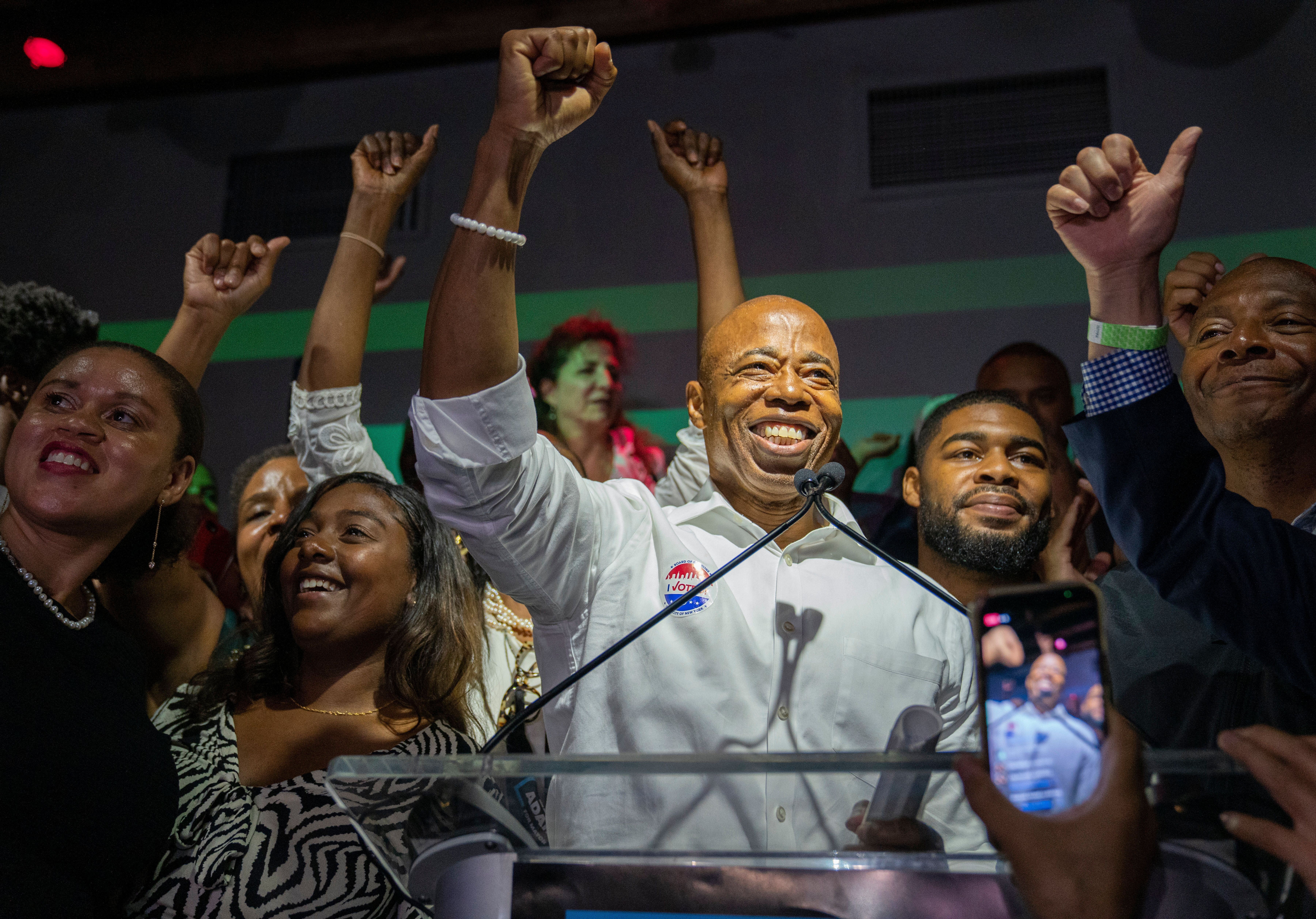 New York City mayoral candidate Eric Adams speaks during his primary election night party on June 22 in Brooklyn, New York.