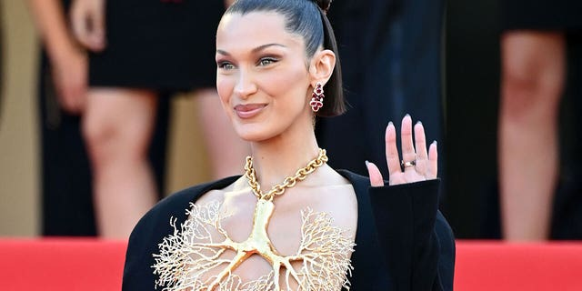 Bella Hadid attends the 'Tre Piani (Three Floors)' screening during the 74th annual Cannes Film Festival on July 11, 2021 in Cannes, France. (Photo by Daniele Venturelli/WireImage)