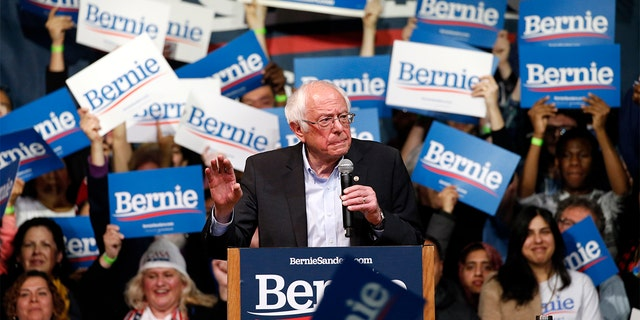 Democratic presidential candidate Sen. Bernie Sanders, I-Vt., gestures as he addresses a rally Thursday, Feb. 27, 2020, in Richmond, Va. (AP Photo/Steve Helber)