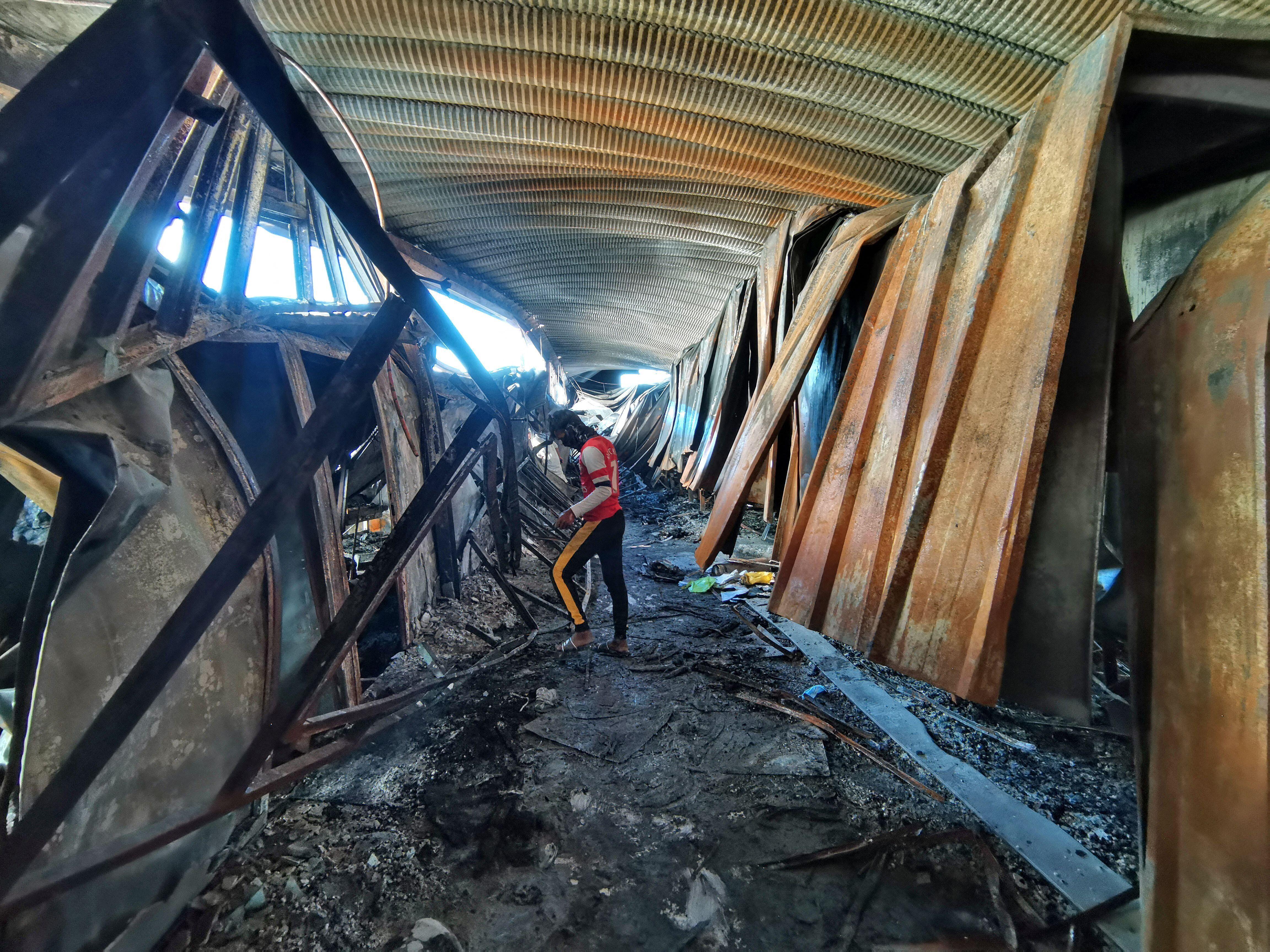 The coronavirus isolation ward of Al-Hussein hospital was ravaged in the blaze.