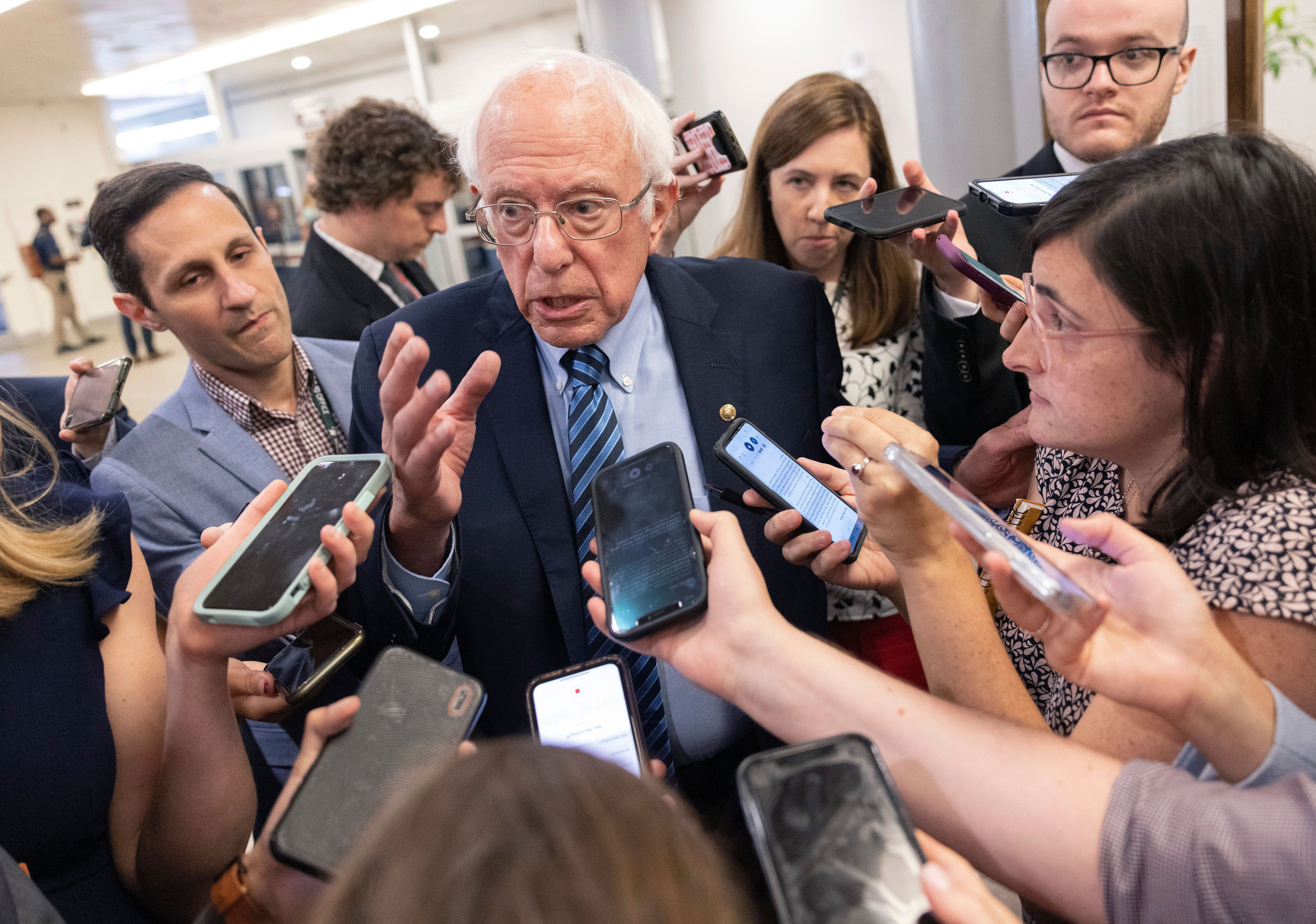 Sen. Bernie Sanders (I-Vt.) speaking to reporters about infrastructure legislation at the Capitol on Wednesday.