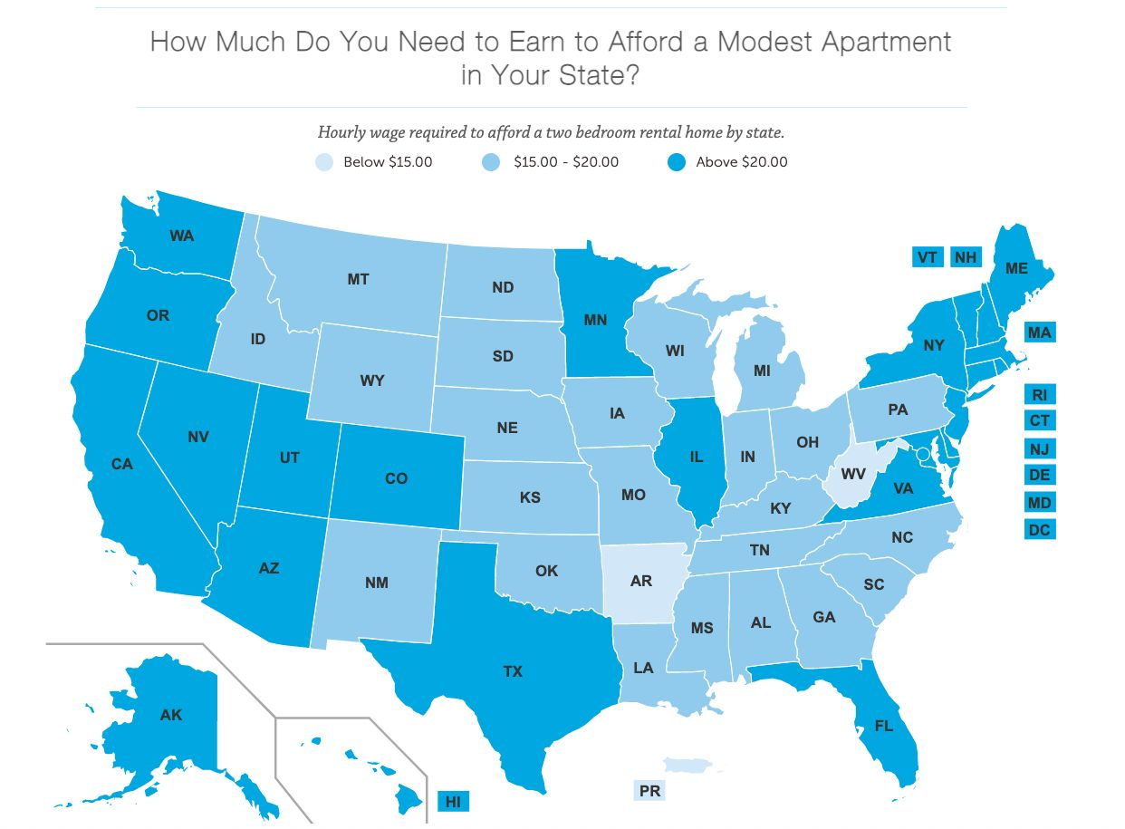 Map showing how much workers need to earn to afford rent across the U.S.