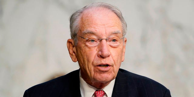 Sen. Chuck Grassley, R-Iowa, speaks during testimony from Supreme Court nominee Judge Amy Coney Barrett on the third day of her confirmation hearing before the Senate Judiciary Committee on Capitol Hill on Oct. 14, 2020 in Washington, D.C. (SUSAN WALSH/POOL/AFP via Getty Images)