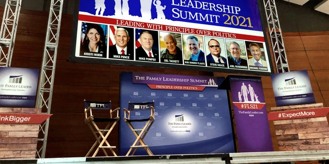 The stage is set in Des Moines for Friday's annual leadership summit hosted by The Family Leader, a top social conservative group in Iowa. In Des Moines, Iowa on July 15, 2021. Select Source