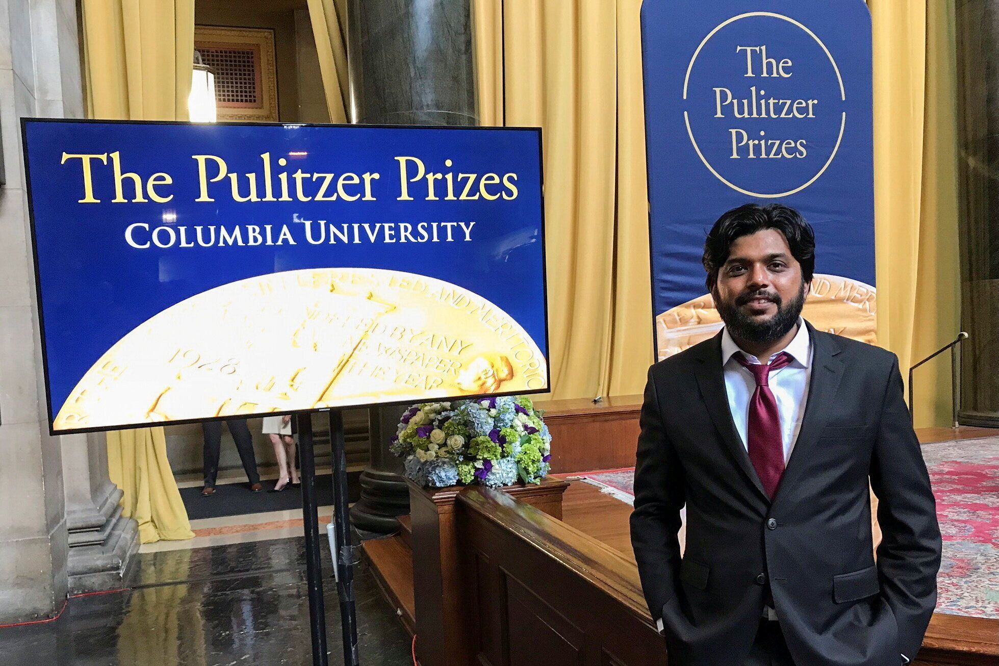Danish Siddiqui, a Reuters photographer based in India, poses for a picture at Columbia University's Low Memorial Library dur