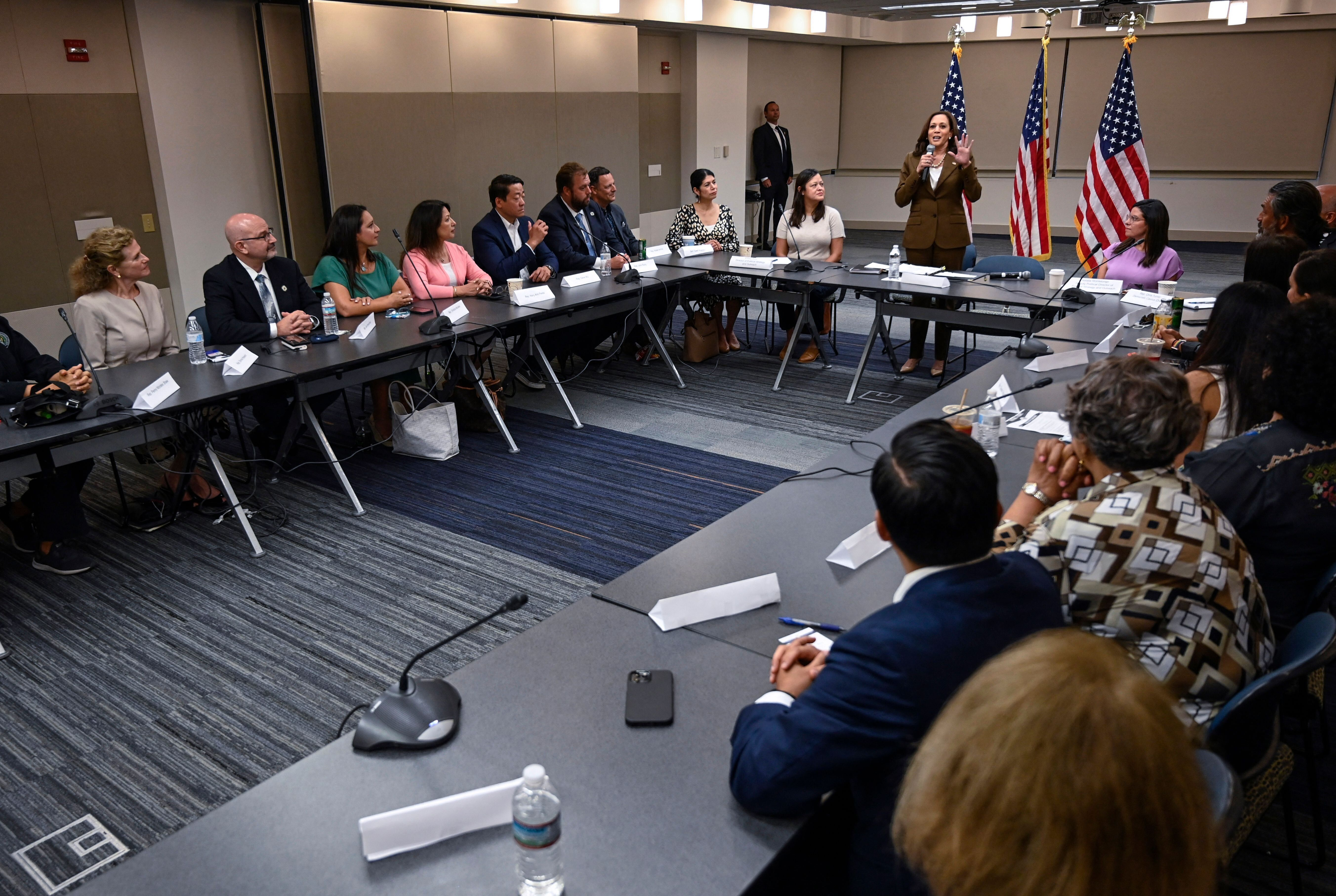 Vice President Kamala Harris (standing) met with some Democratic members of the Texas state legislature on Tuesday.