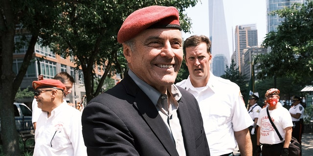 The Republican candidate for mayor for New York City, Curtis Sliwa, joins hundreds of police, fire, hospital and other first responder workers in a ticker tape parade along the Canyon of Heroes to honor the essential workers who helped navigate New York through Covid-19 on July 07, 2021 in New York City.