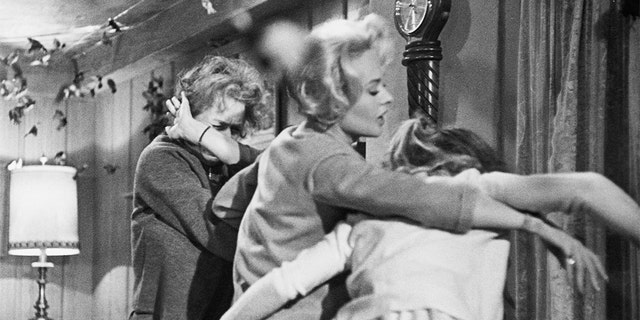 From left: Lydia Brenner (Jessica Tandy), Melanie Daniels (Tippi Hedren) and Cathy Brenner (Veronica Cartwright) fight off a bird attack in Alfred Hitchcock's, 'The Birds.'