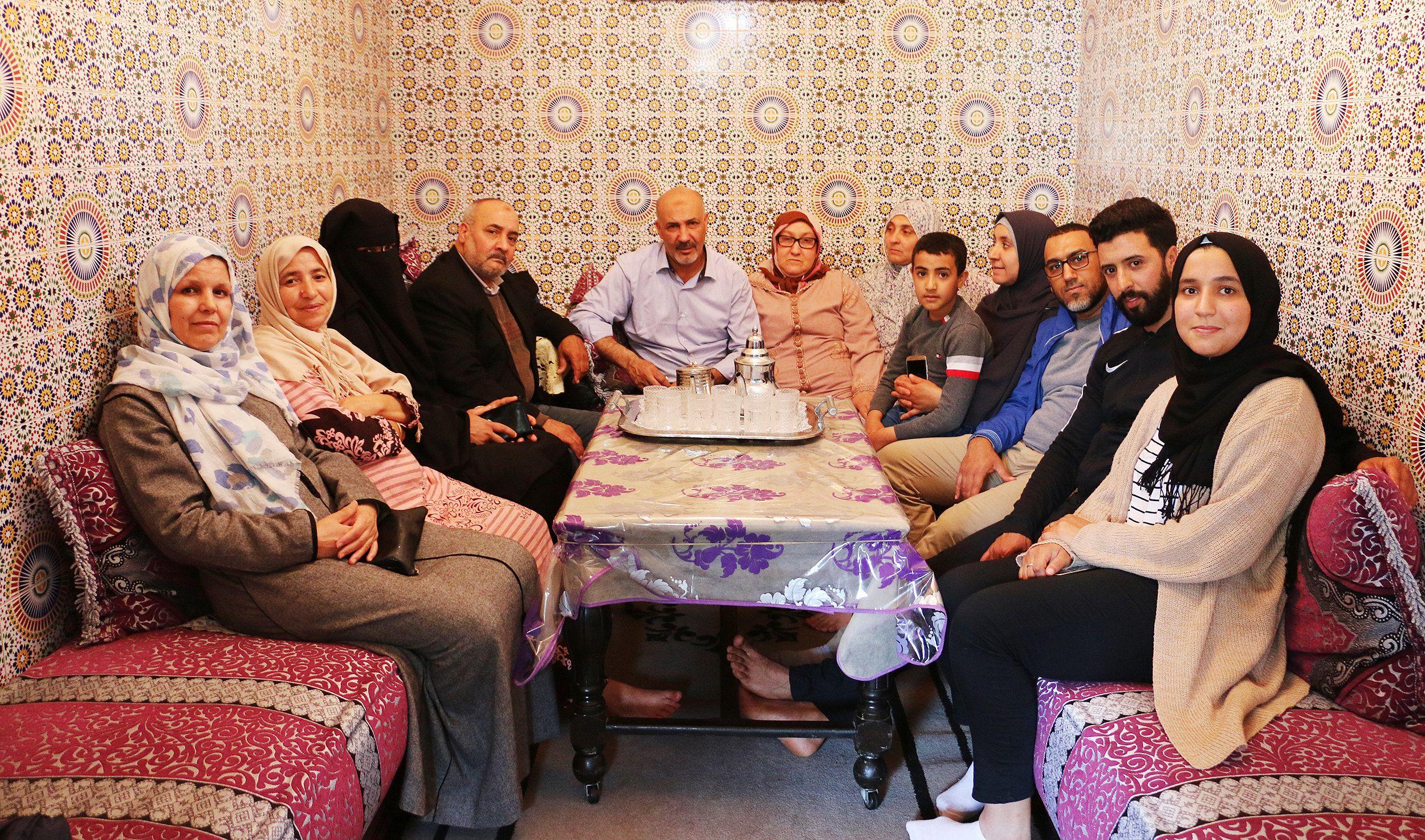 Nasser's family in 2018 in the home where he grew up in Casablanca, Morocco.