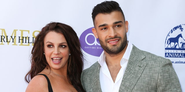 Britney Spears (L) and Sam Asghari (R) attend the 2019 Daytime Beauty Awards at The Taglyan Complex on September 20, 2019 in Los Angeles, California. (Photo by Paul Archuleta/FilmMagic )
