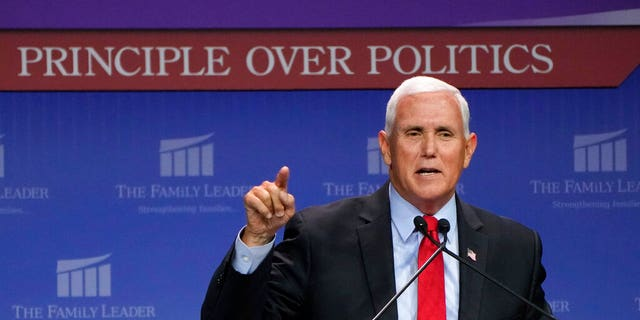Former Vice President Mike Pence speaks during the Family Leadership Summit, Friday, July 16, 2021, in Des Moines, Iowa. (AP Photo/Charlie Neibergall)