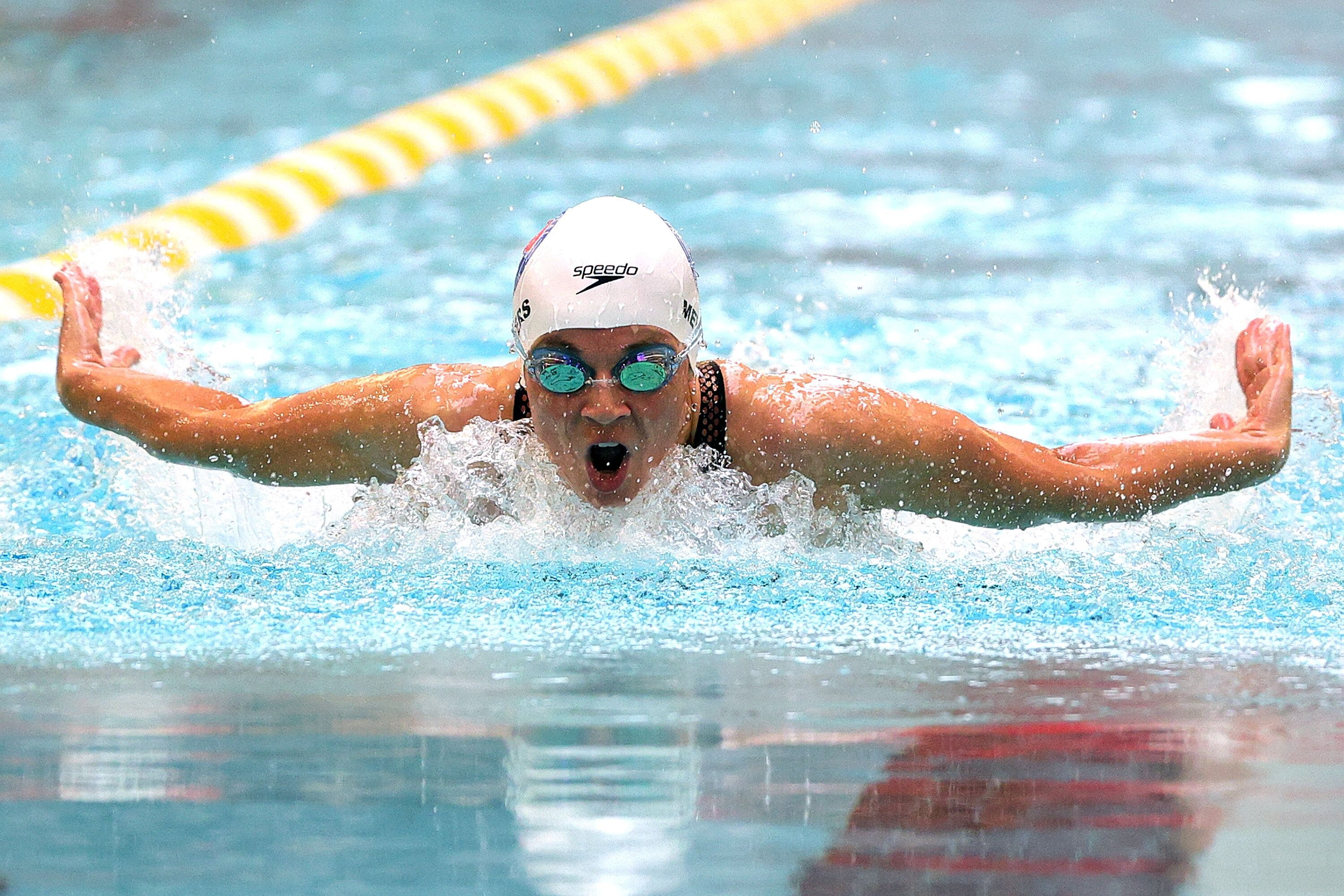 Becca Meyers competes in the Women's 100m Butterfly during Day 3 of the 2021 U.S. Paralympic Swimming Trials in June.