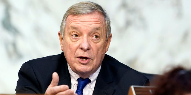 Sen. Dick Durbin, D-Ill., speaks before the Senate Judiciary Committee on the fourth days of hearing on Supreme Court nominee Amy Coney Barrett, Thursday, Oct. 15, 2020, on Capitol Hill in Washington. Durbin said Wednesday that Justice Stephen Breyer does not need members of Congress telling him to step down from the Supreme Court. (AP Photo/Susan Walsh, Pool)