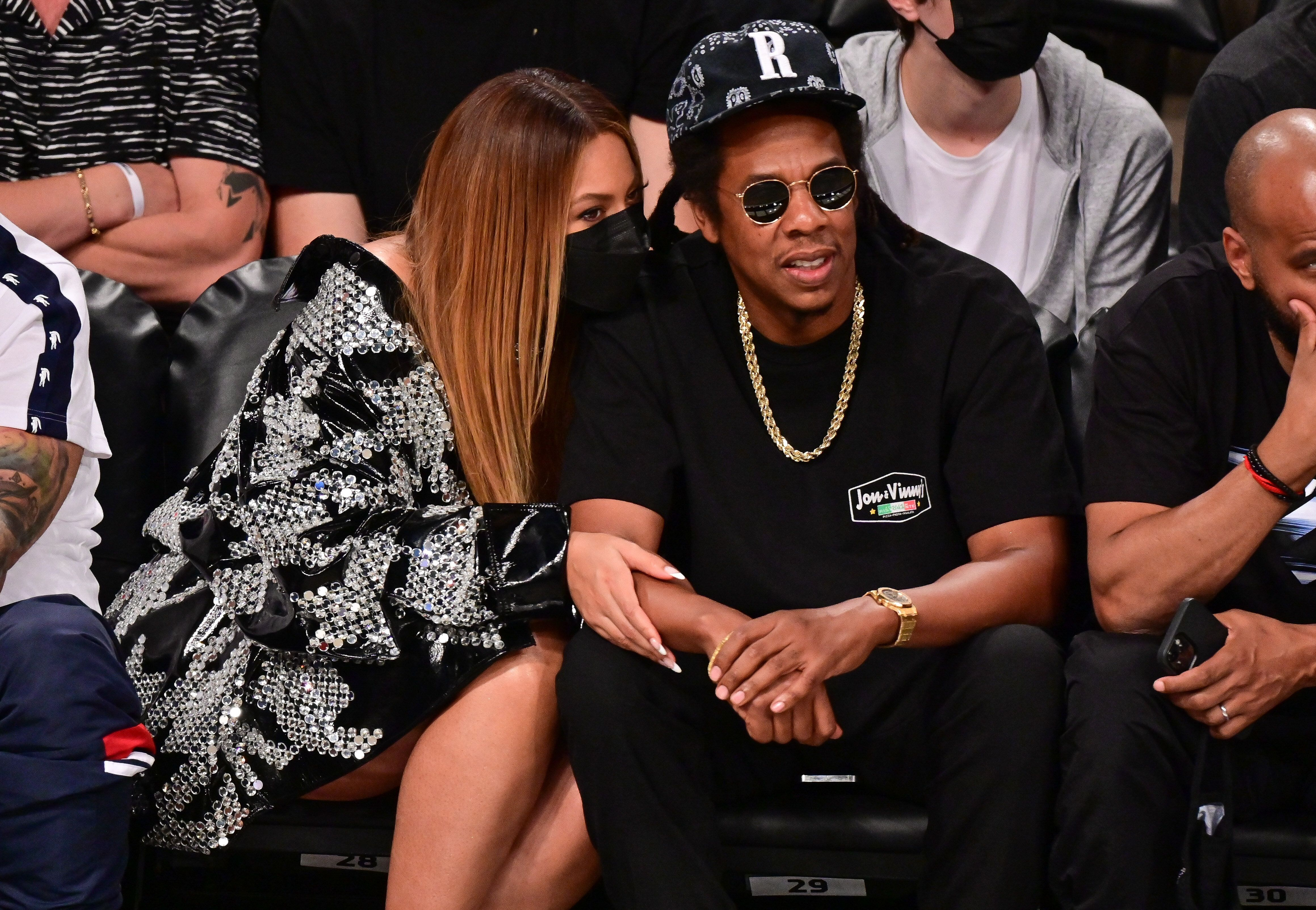 Beyonce and Jay-Z watch the game between the Brooklyn Nets and Milwaukee Bucks at the Barclays Center of Brooklyn last