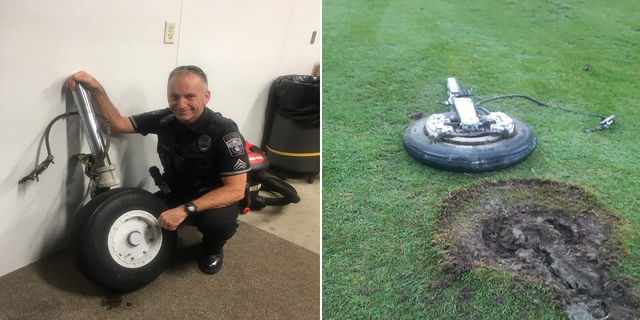 The plane's part landed on the seventh fairway at Gorham County Club. (Gorham Police Department)