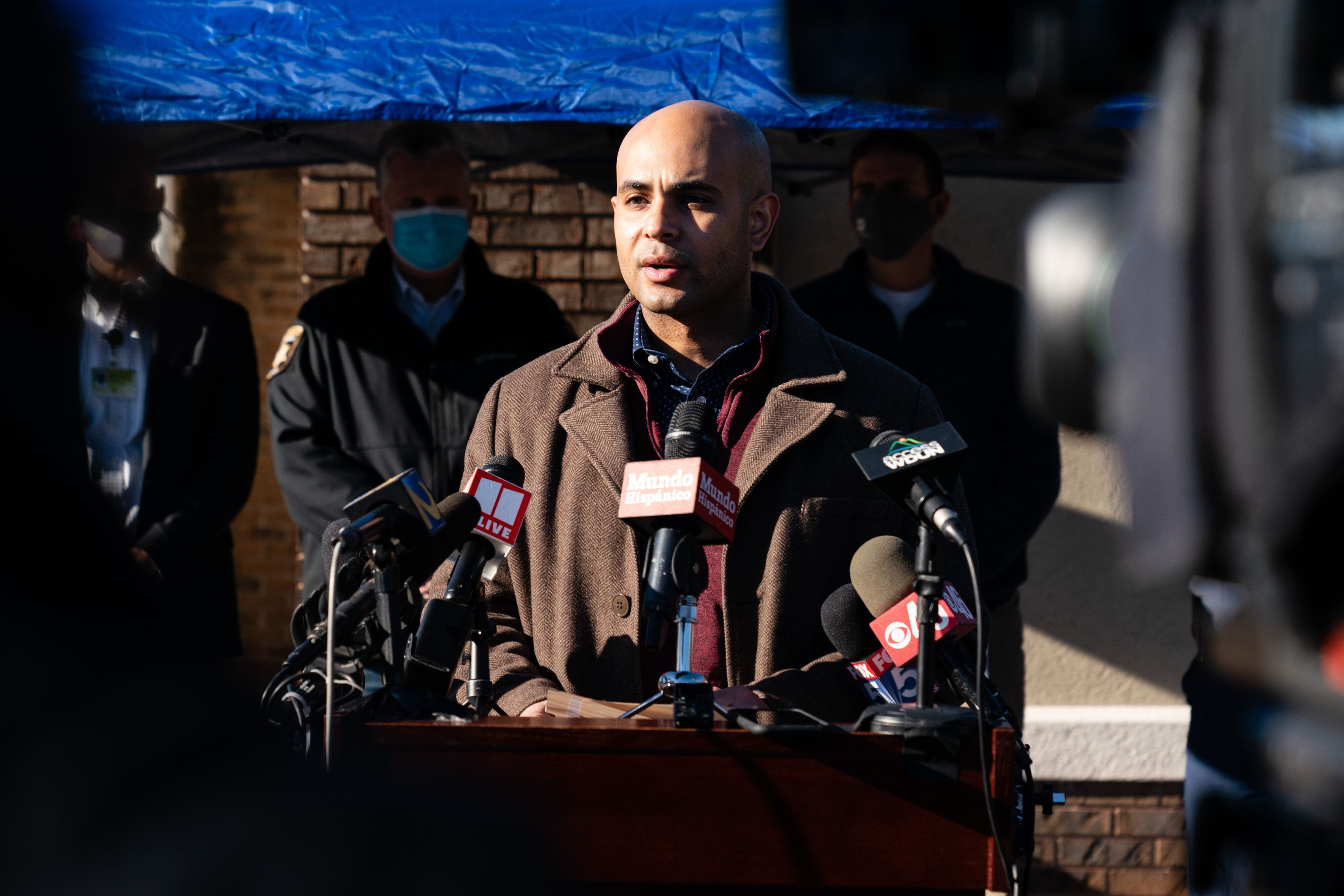 Nicholas Ancrum, vice president of human relations for Foundation Food Group, speaking at a press conference following the de