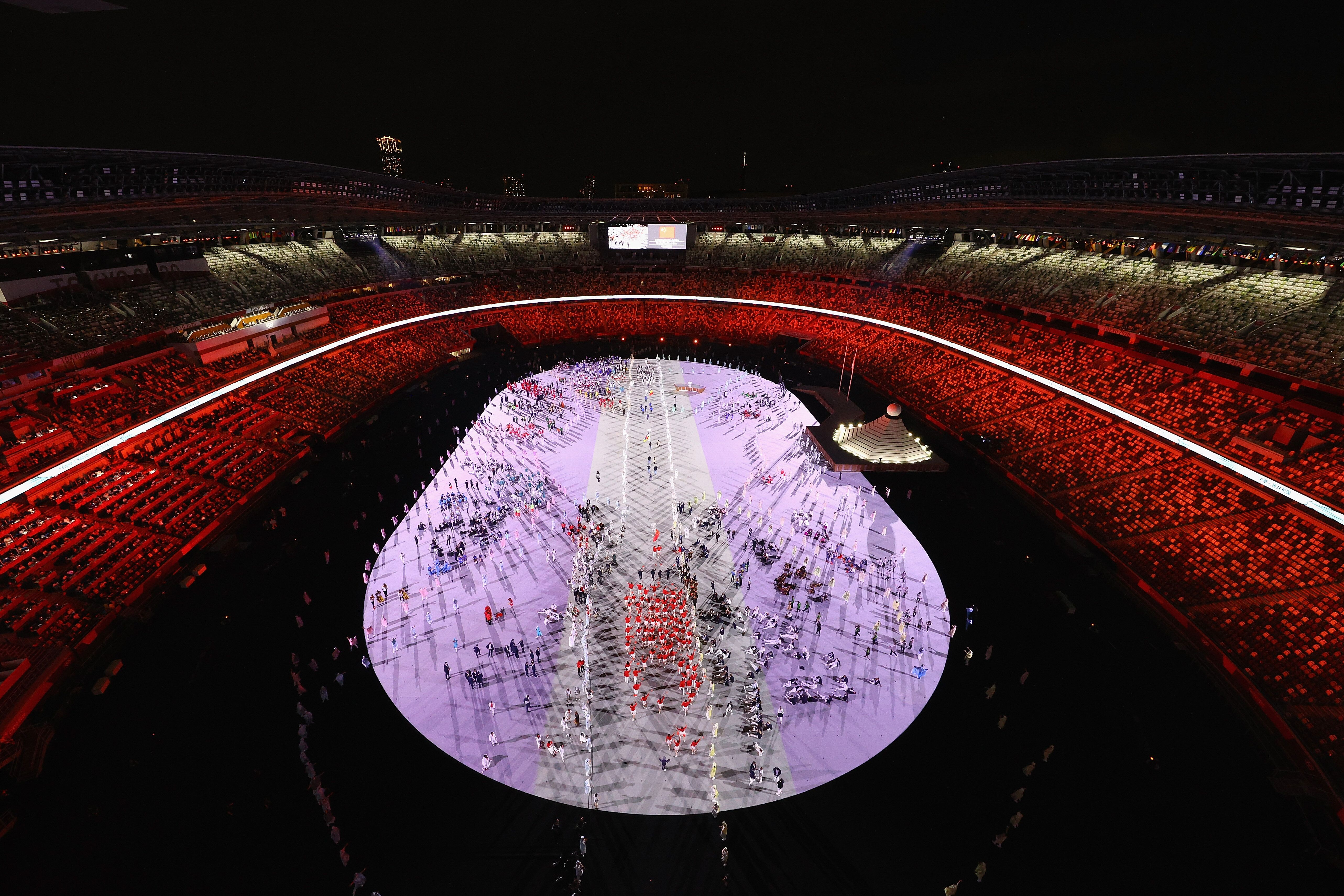 Members of Team China enter the stadium.