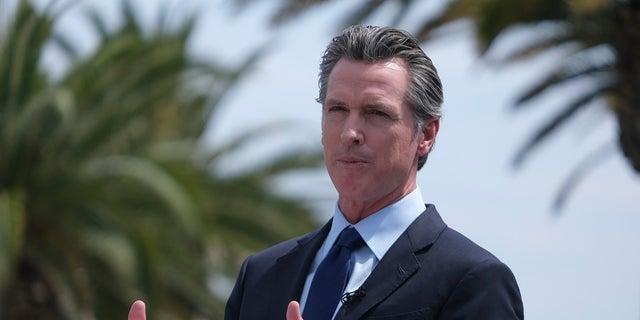 California Gov. Gavin Newsom speaks Wednesday during a news conference in Universal City, California. (Associated Press)