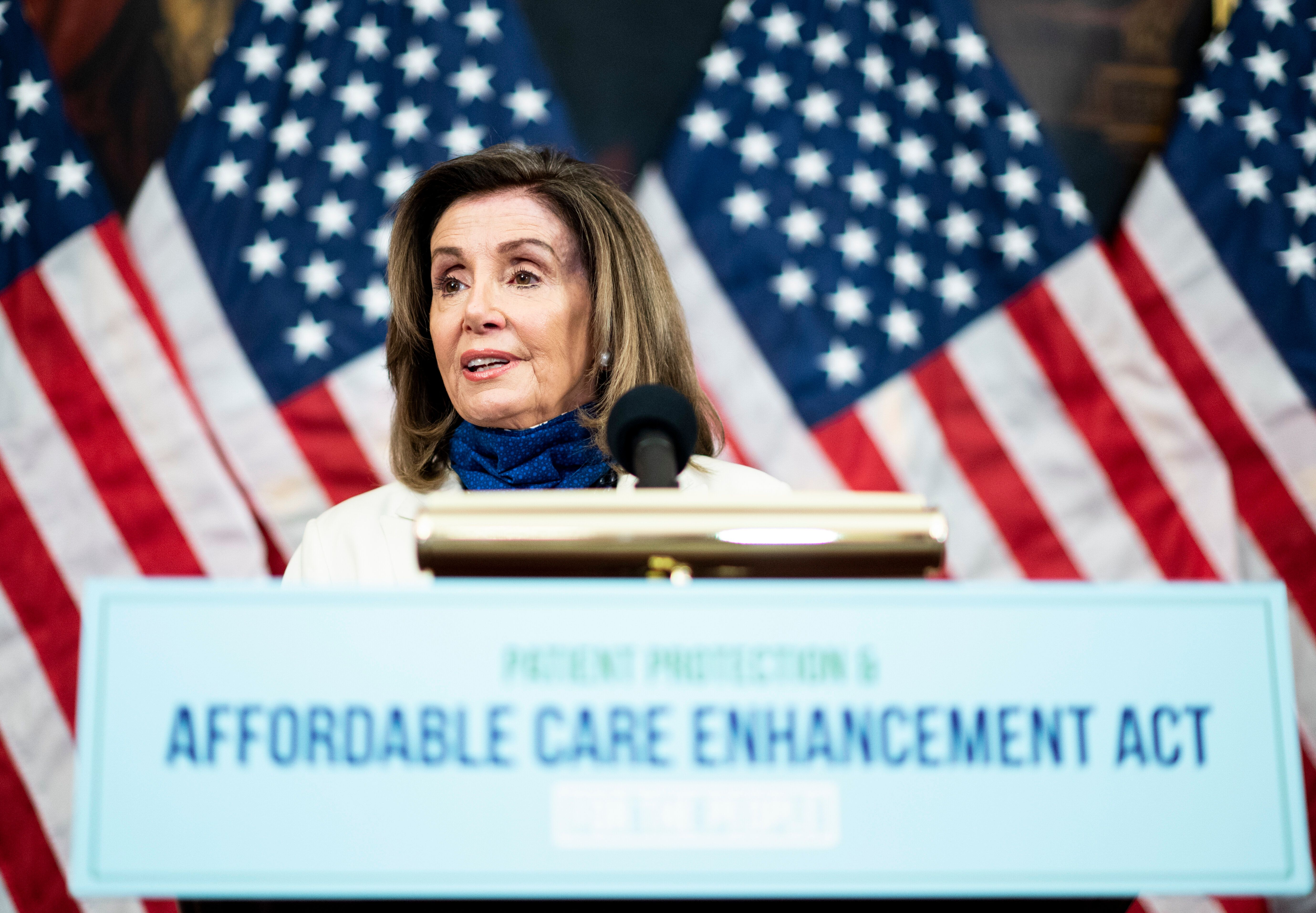 Speaker of the House Nancy Pelosi (D-Calif.) speaks during the House Democrats' news conference to unveil the Patient Protect