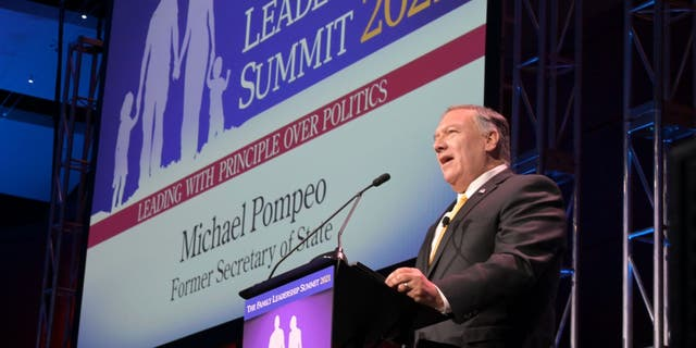 Former Secretary of State Mike Pompeo speaks at the Family Leadership Summit in Des Moines, Iowa, on July 16, 2021.