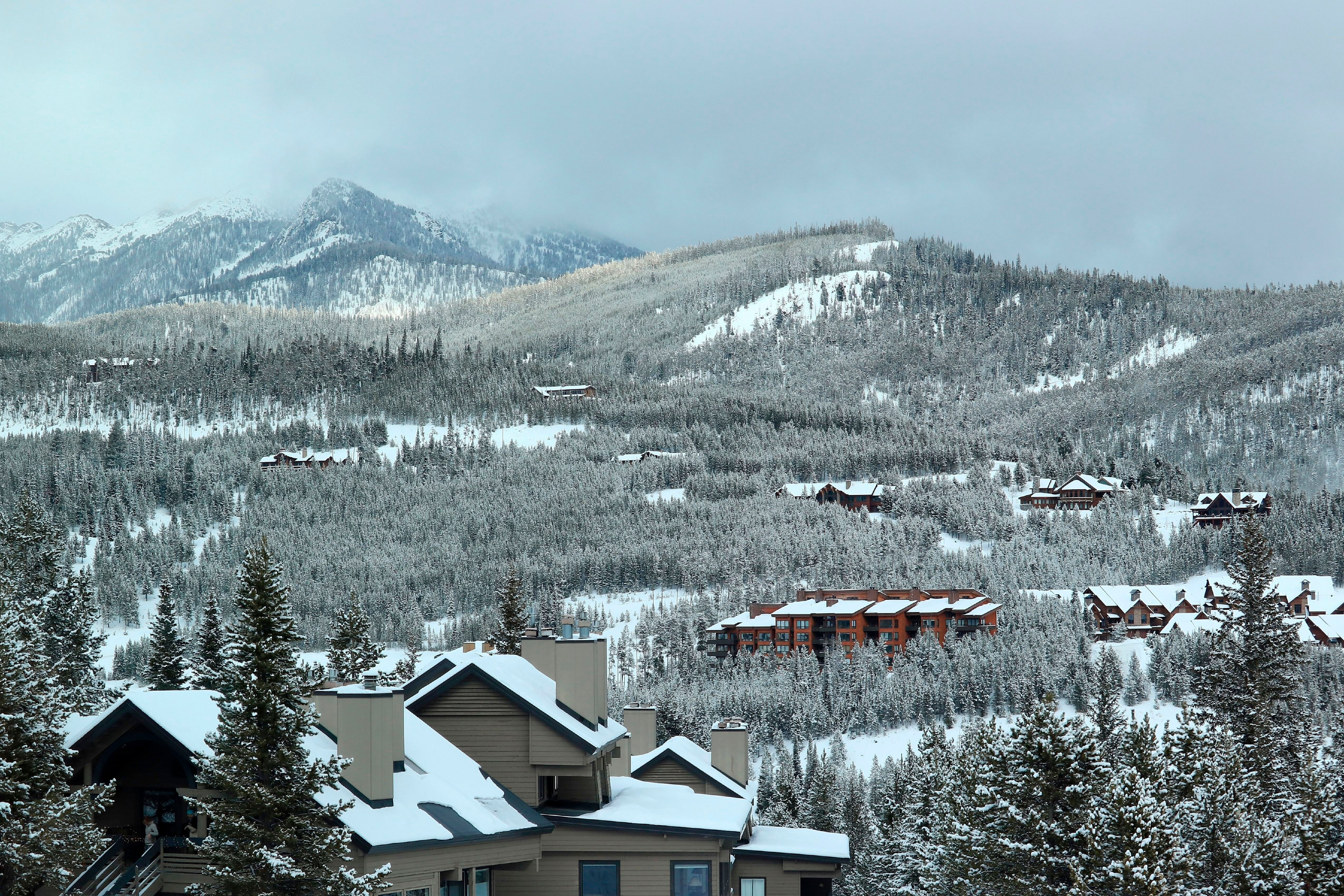 Condos and housing in the mountains around Big Sky Ski Resort.