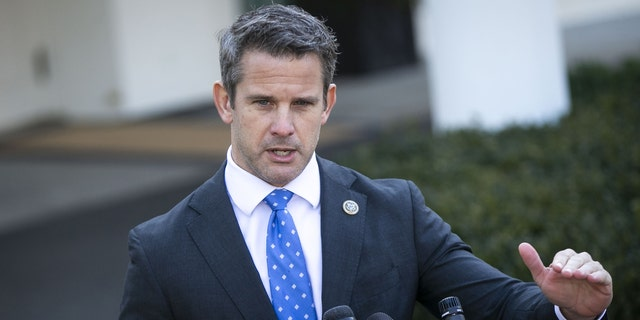 Rep. Adam Kinzinger, R-Ill., speaks to members of the media following a meeting with President Trump outside the White House in Washington, D.C., on Wednesday, March 6, 2019. (Al Drago/Bloomberg via Getty Images)
