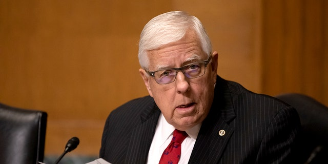 Senator Mike Enzi (R-WY), asks questions during a hearing held by the U.S. Senate Committee on Finance on Capitol Hill, on Tuesday, May 14, 2019.