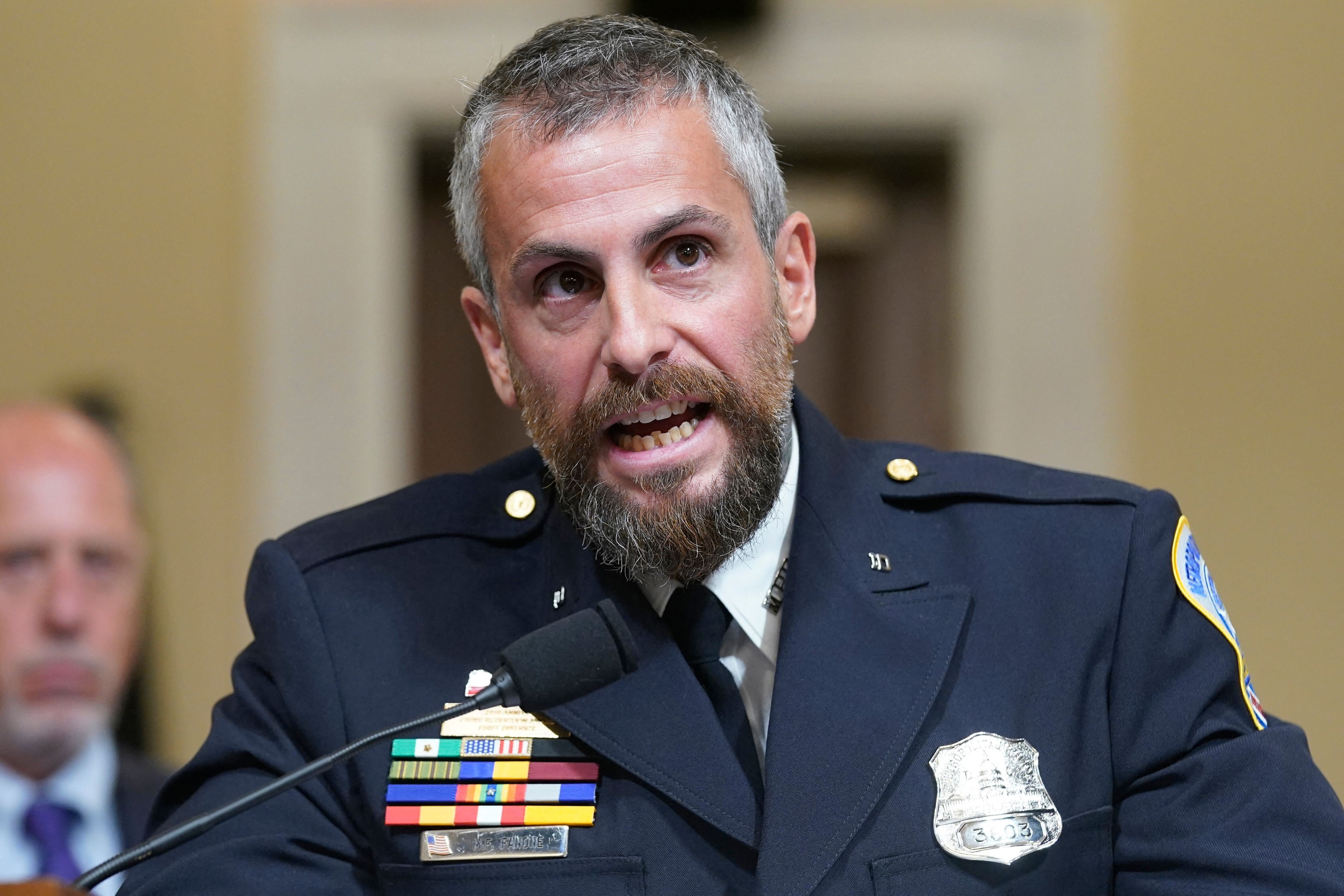 DC Metropolitan Police Department Officer Michael Fanone testifies during the select committee investigation of the Jan. 6 at