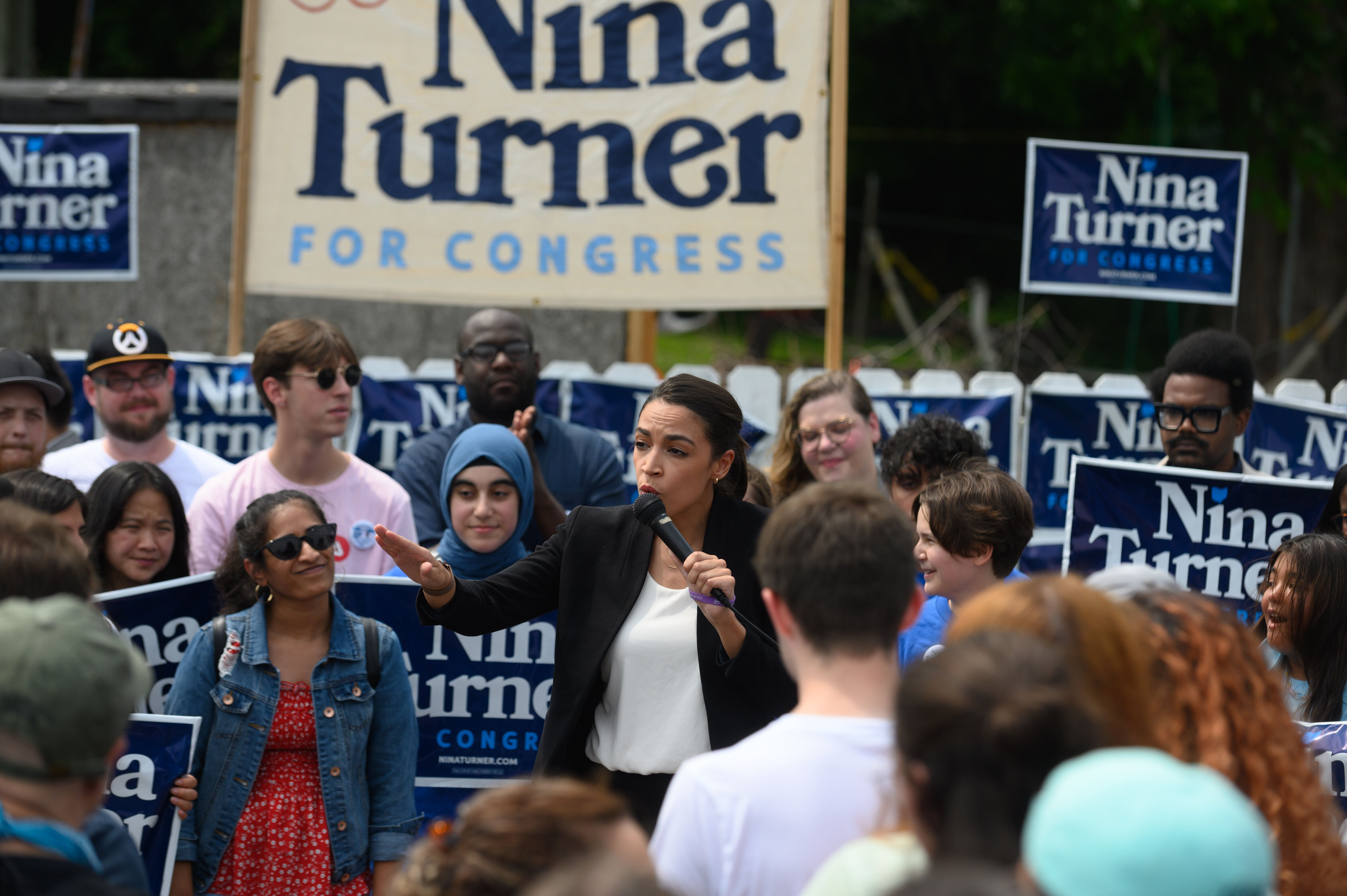 Rep. Alexandra Ocasio-Cortez (D-N.Y.) speaks in support of Nina Turner in Cleveland on July 24. Her visit was part of a massi