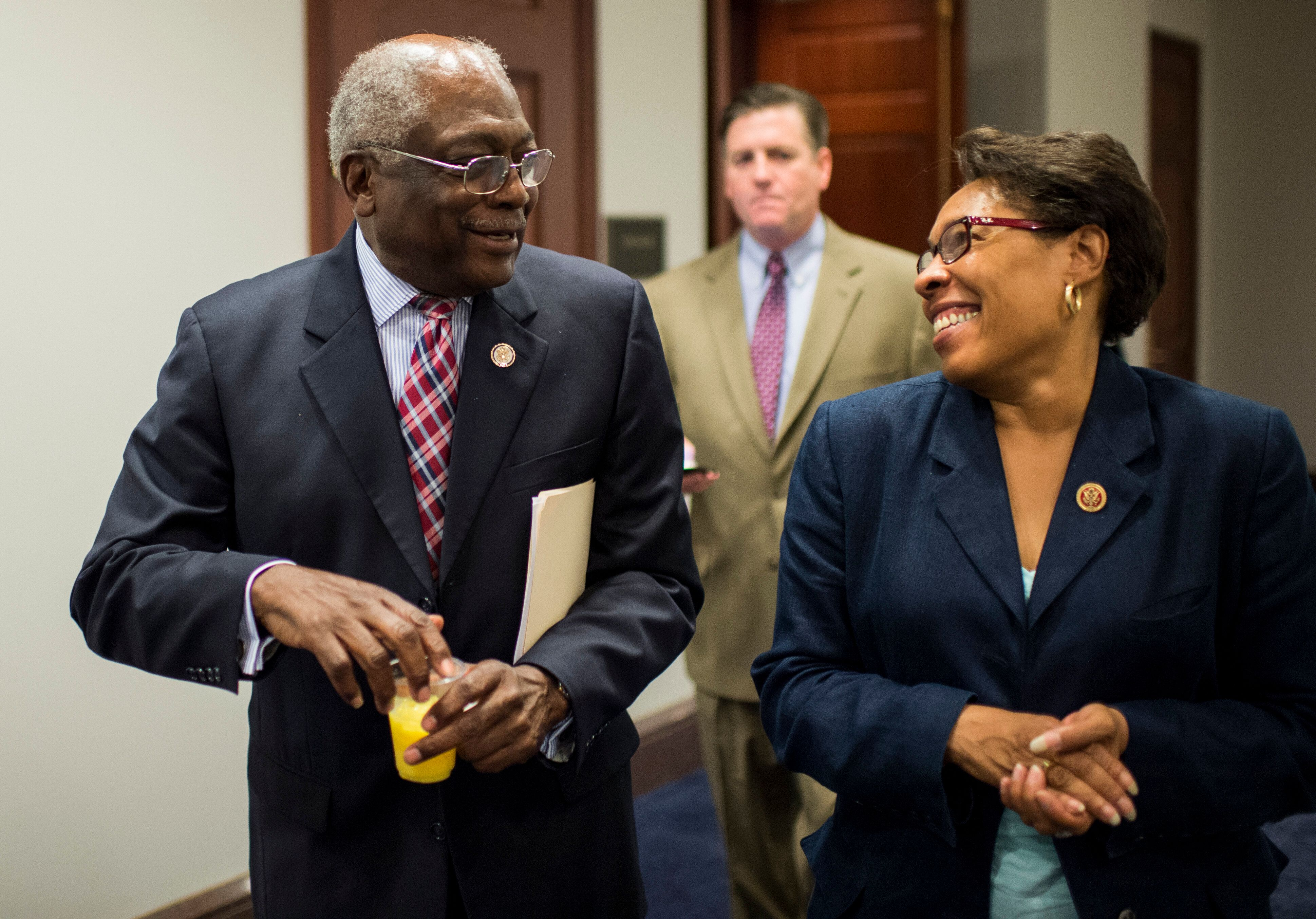 Rep. Jim Clyburn (D-S.C.), left, chats with then-Rep. Marcia Fudge (D-Ohio) in 2013. Clyburn has taken a keen interest in the